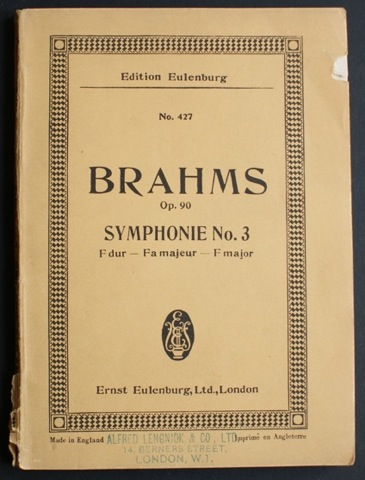 Image for Brahms Op. 90. Symphonie No. 3. F dur - Fa majeur - F major. Fur Orchester.