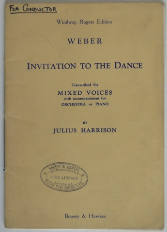 Image for Invitation to the Dance. Transcribed for Mixed Voices with accompaniment for Orchestra or Piano by Julius Harrison