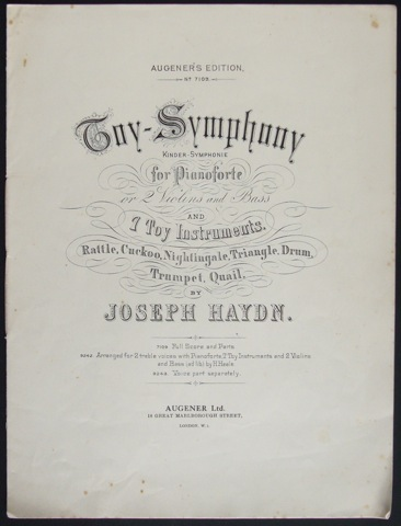 "Image for ""Toy-Symphony for Pianoforte, or 2 Violins and Bass, and 7 toy instruments."""