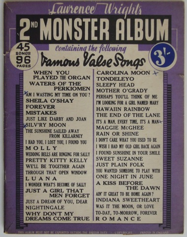 Image for Lawrence Wright's 2nd Monster Album containing 45 famous Valse songs