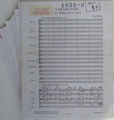 Image for Sarabande: For Katharine in April. Full Score plus Parts