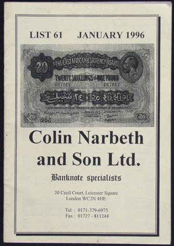 Image for Banknote Specialists. List 61 January 1996