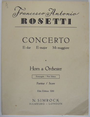 Image for Concerto in E-Major for Horn & Orchester Full Score