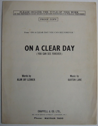 Image for On A Clear Day (You Can See Forever)