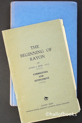 "Image for ""The Beginning of Rayon, including Corrigenda and Supplement."""