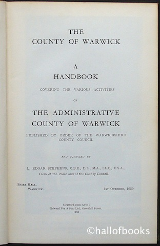 Image for The County Of Warwick: A Handbook Covering The Various Activities Of The Administrative County Of Warwick