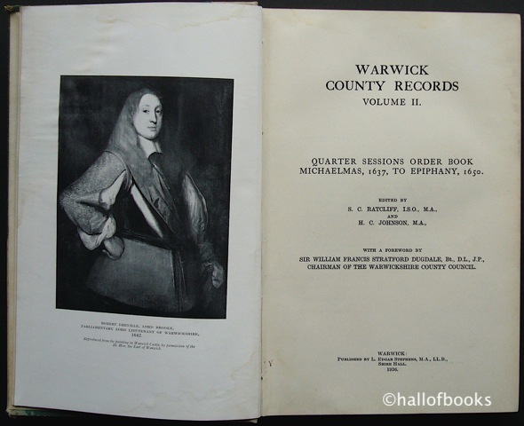 "Image for ""Warwick County Records Volume II: Quarter Sessions Order Book Michaelmas, 1637, To Epiphany, 1650."""