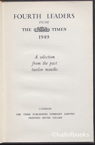 Image for Fourth Leaders from The Times 1949: A selection from the past twelve months