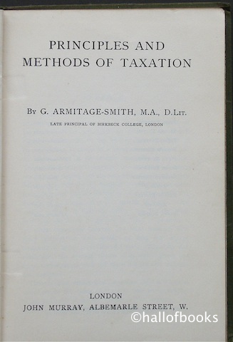 Image for Principles and Methods of Taxation