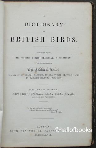 "Image for ""A Dictionary of British Birds. Reprinted from Montagu's Ornithological Dictionary and incorporating the Additional Species described by Selby; Yarrell, in all three editions; and in Natural History Journals"""