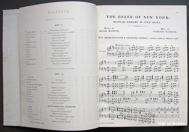 Image for The Belle Of New York: A Musical Comedy In Two Acts. Vocal Score