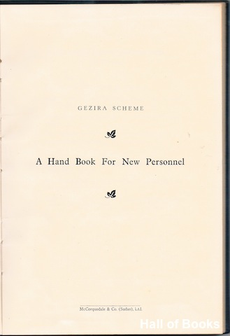 Image for Gezira Scheme: A Hand Book For New Personnel