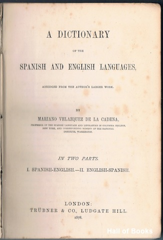 Image for A Dictionary Of The Spanish And English Languages