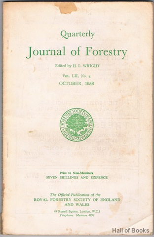 "Image for ""Quarterly Journal Of Forestry: Vol LII, No.4. October 1958"""