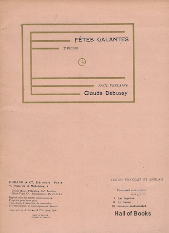 Image for Fetes Galantes: 2nd Recueil. Vocal Score