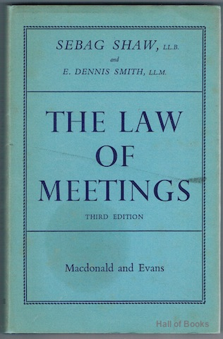 Image for The Corporation Of Secretaries Manual On The Law Of Meetings: Their Conduct And Procedure