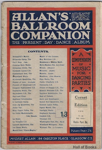 Image for Allan's Ballroom Companion: The Present Day Dance Album. A Compendium Of Music For Dancing Parties: Cornet Edition