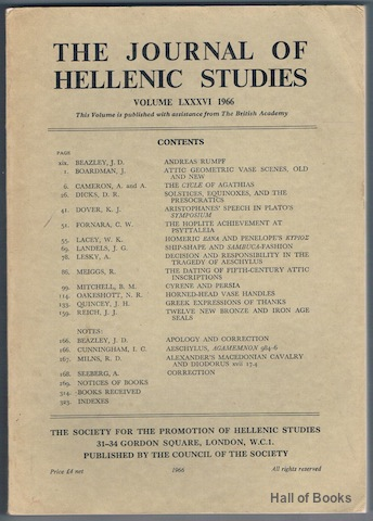 Image for The Journal Of Hellenic Studies: Volume LXXXVI 1966