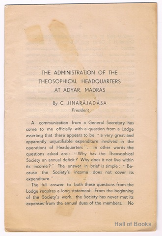 "Image for ""The Administration Of The Theosophical Headquarters At Adyar, Madras"""