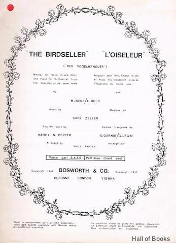 "Image for ""The Birdseller, L'Oiseleur (Der VogelHandler): Medley for Solo, mixed Choir and Piano (or Orchestra) from the Operetta of the same name"""