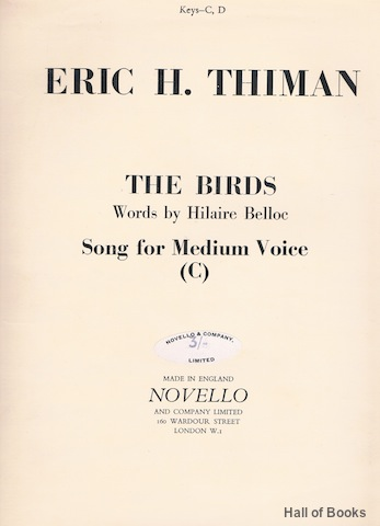 Image for The Birds: Song For Medium Voice in C