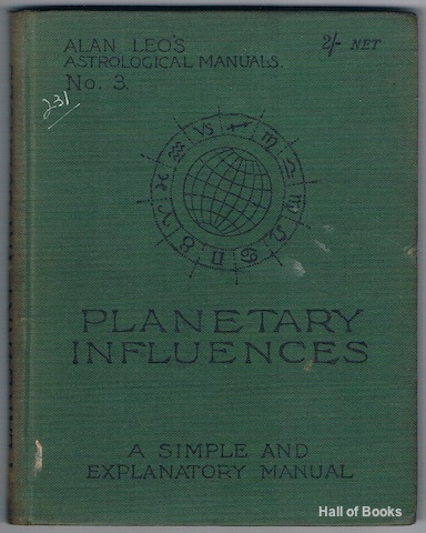 Image for Planetary Influences. Alan Leo's Astrological Manuals No.III