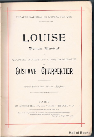 Image for Louise: Roman Musical En Quatre Actes Et Cinq Tableaux. Partition Piano Et Chant