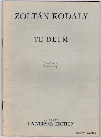 "Image for ""te Deum: Vocal Score, Klavierauszug"""
