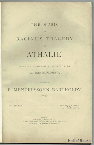 Image for The Music To Racine's Tragedy Of Athalie. Op.74. Vocal Score