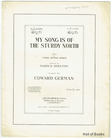 Image for My Song Is Of The Sturdy North In C Minor. No.3 of Three Spring Songs. Vocal Score