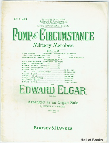Image for Pomp And Circumstance Military Marches No.1 in D by Edward Elgar (Op.39). Arranged as an Organ Solo By Edwin H. Lemare.
