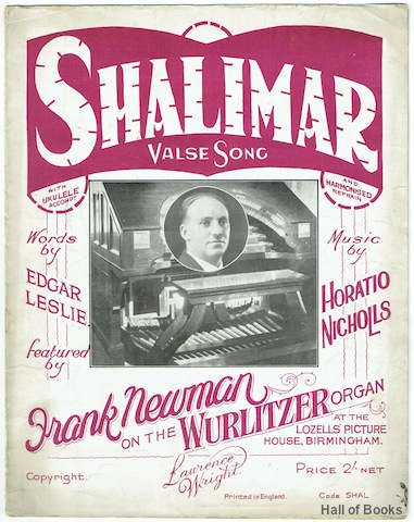 "Image for ""Shalimar Valse Song, Featured by Frank Newman on the Wurlitzer Organ"""