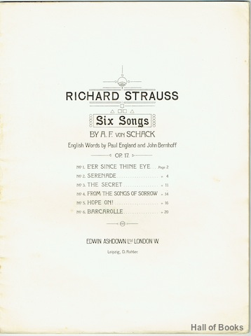 Image for Six Songs: Op. 17. For Low Voice