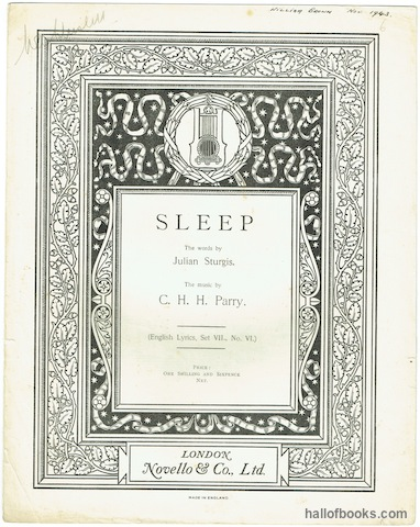 "Image for ""Sleep (English Lyrics, Set VII,. No. VI.). Vocal Score"""
