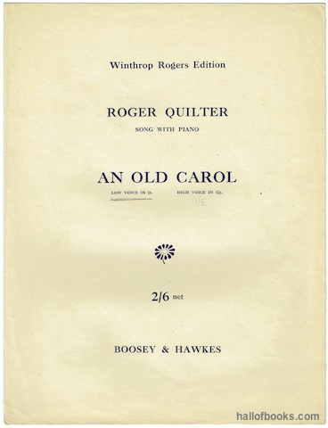 "Image for ""An Old Carol: Low Voice In D. Song With Piano Op. 25, No. 3. (Winthrop Rogers Edition)"""