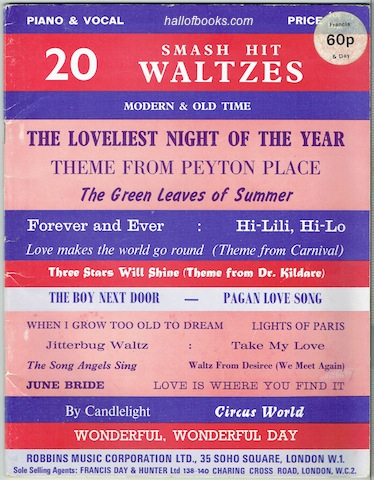 Image for 20 Smash Hit Waltzes: Modern And Old Time. Piano & Vocal