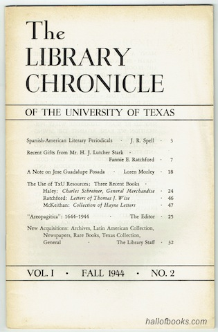 Image for The Library Chronicle Of The University Of Texas: Vol. I No.2 (Fall 1944)