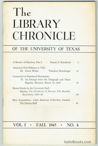Image for The Library Chronicle Of The University Of Texas: Vol. I No.4 (Fall 1945)