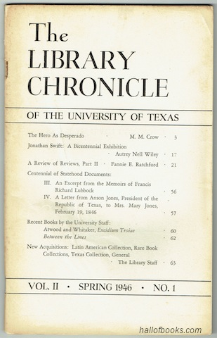 Image for The Library Chronicle Of The University Of Texas: Vol. II No.1 (Spring 1946)