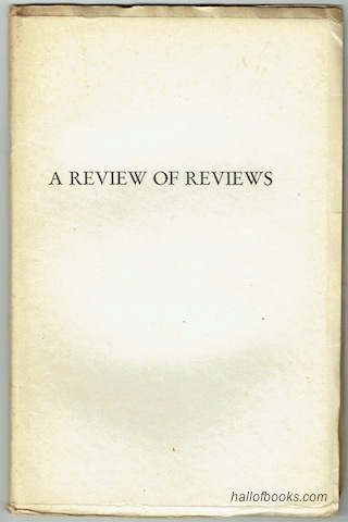 Image for A Review Of Reviews. Part I: An Enquiry; Part II: Wise's Letters