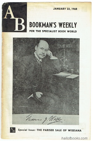 "Image for ""AB Bookman's Weekly For The Specialist Book World.  Special Issue: The Pariser Sale Of Wiseiana. January 22, 1968."""