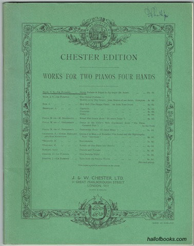 Image for Chester Edition Works For Two Pianos Four Hands: Prelude And Fugue In E Flat Major (St. Anne)