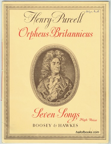 Image for Orpheus Britannicus: The Figured Basses realised by Benjamin Britten, The Vocal Parts edited by Peter Pears. Seven Songs: High Voice