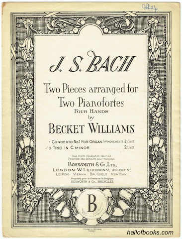 Image for Two Pieces arranged for Two Pianofortes, Four hands, by Becket Williams: Trio In C Minor.