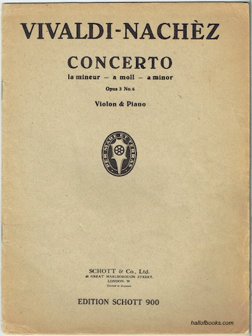 Image for Concerto La Mineur - A Moll - A Minor: Opus 3 No. 6. Violon & Piano (Edition Schott 900)