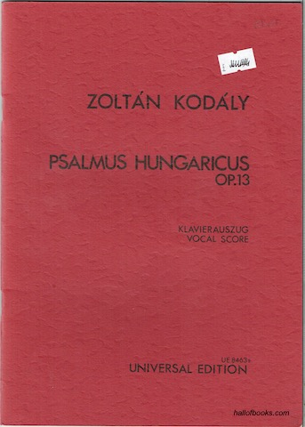 Image for Psalmus Hungaricus Op. 13: Klavierauszug; Vocal Score
