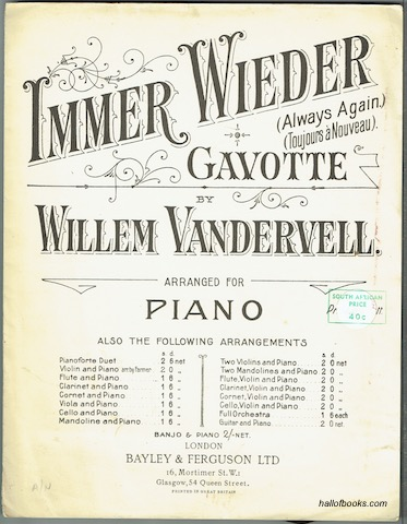 Immer Wieder Gavotte (Always Again, Toujours a Nouveau) Arranged For Piano