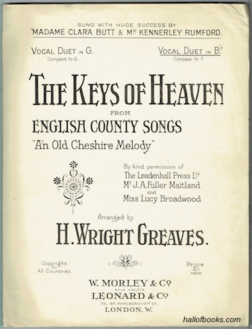 Image for The Keys To Heaven Vocal Duet In B Flat (From English Country Songs: An Old Cheshire Melody)