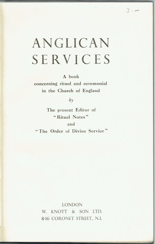 Image for Anglican Services: a book concerning ritual and ceremonial in the Church of England