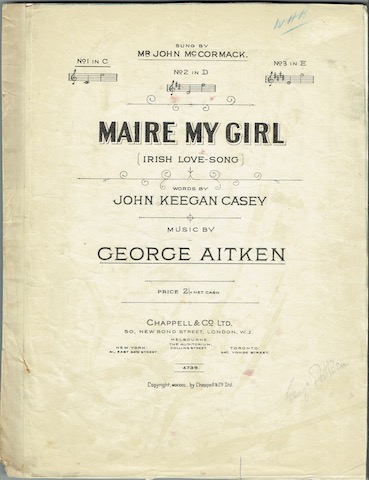 Image for Maire My Girl (Irish Love Song), No. 1 in C.